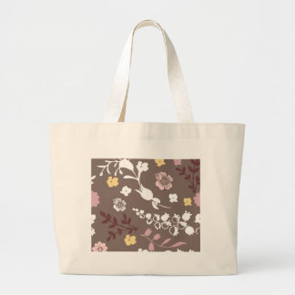 Brown and Pink Vintage Romantic Floral Pattern Canvas Bags