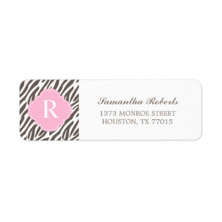 Brown and Pink Zebra Stripes Monogram