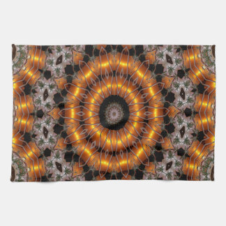 Brown And Purple Abstract Concentric Pattern Tea Towel