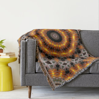 Brown And Purple Abstract Concentric Pattern Throw Blanket