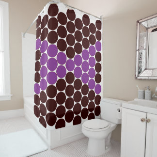 Brown and Purple Dot Print Shower Curtain