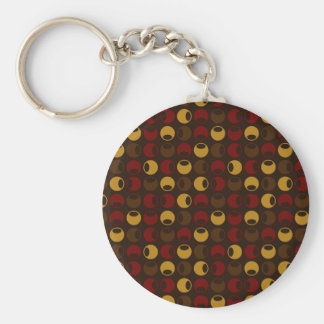 Brown and Red Polka Dot Pattern Basic Round Button Key Ring