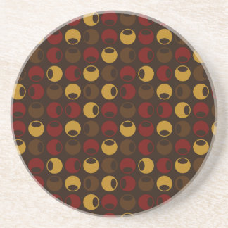 Brown and Red Polka Dot Pattern Sandstone Coaster