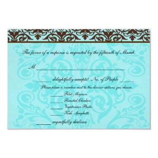 Brown and Robin Egg Blue RSVP w/ Dinner Options 9 Cm X 13 Cm Invitation Card