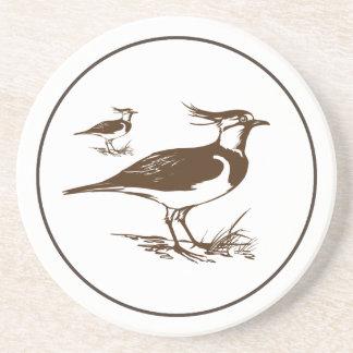 Brown And Tan Bird Illustration Beverage Coasters