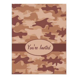 "Brown and Tan Camo Camouflage Party Event 4.25"" X 5.5"" Invitation Card"