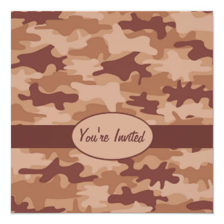 "Brown and Tan Camo Camouflage Party Event Square 5.25"" Square Invitation Card"