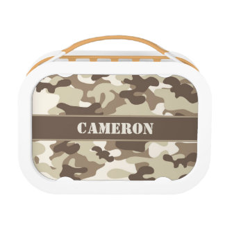 Brown and Tan Camo (Camouflage) | Personalized Lunch Box