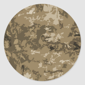 Brown and Tan Camouflage Nature Camo Pattern Round Sticker