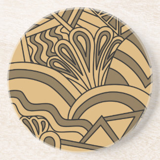 Brown and Tan Color Art Deco Style Design. Coasters