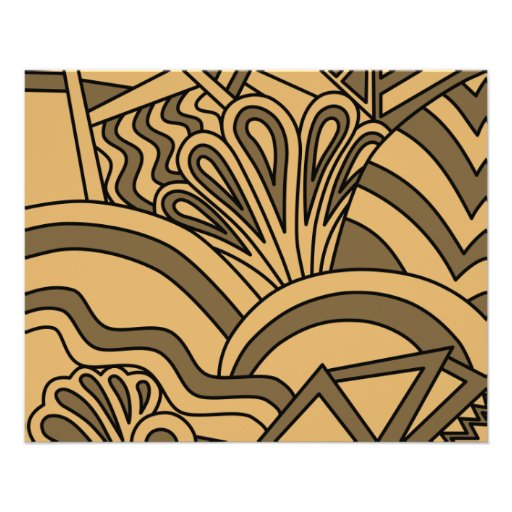 Brown and Tan Color Art Deco Style Design. Flyer