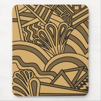 Brown and Tan Color Art Deco Style Design. Mouse Pad