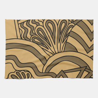 Brown and Tan Color Art Deco Style Design. Tea Towel