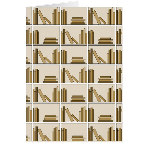 Brown and Tan Color Books on Shelf. Greeting Cards
