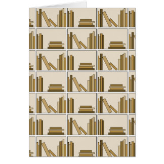 Brown and Tan Color Books on Shelf. Greeting Card