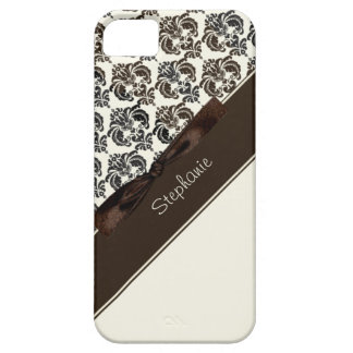 Brown and Tan Damask with Bow iPhone 5 Cover