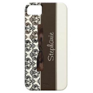 Brown and Tan Damask with Bow iPhone 5 Covers