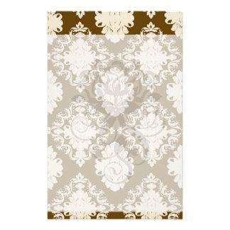brown and tan ecru ornamental damask pattern personalized stationery
