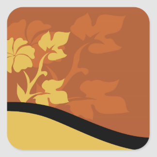 Brown and Tan Flora Square Sticker