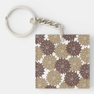 Brown and Tan Flower Blossoms Floral Print Double-Sided Square Acrylic Key Ring