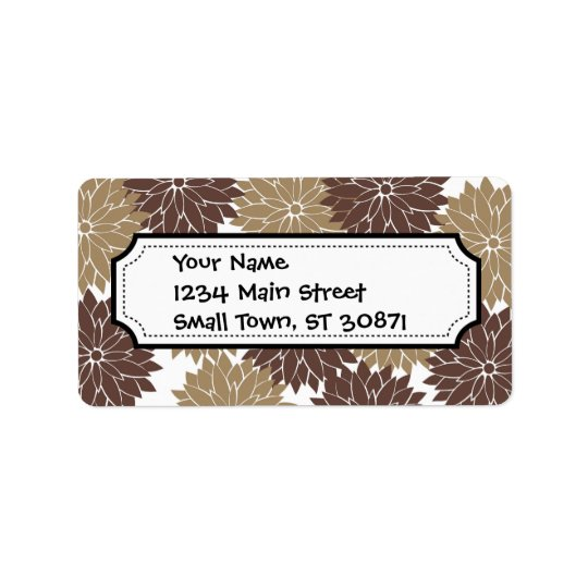 Brown and Tan Flower Blossoms Floral Print Label