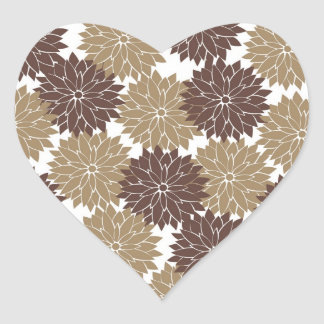 Brown and Tan Flower Blossoms Floral Print Stickers