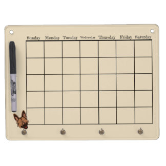 Brown and Tan German Shepherd Dog Calendar Dry Erase Board With Key Ring Holder