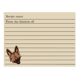 Brown and Tan German Shepherd Dog Recipe Card