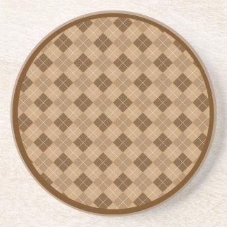 Brown and Tan Retro Argyle Coaster