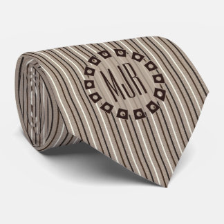 Brown and Taupe Pinstripes | Monogrammed Tie