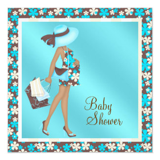 Brown and Teal Blue Baby Shower Invitations
