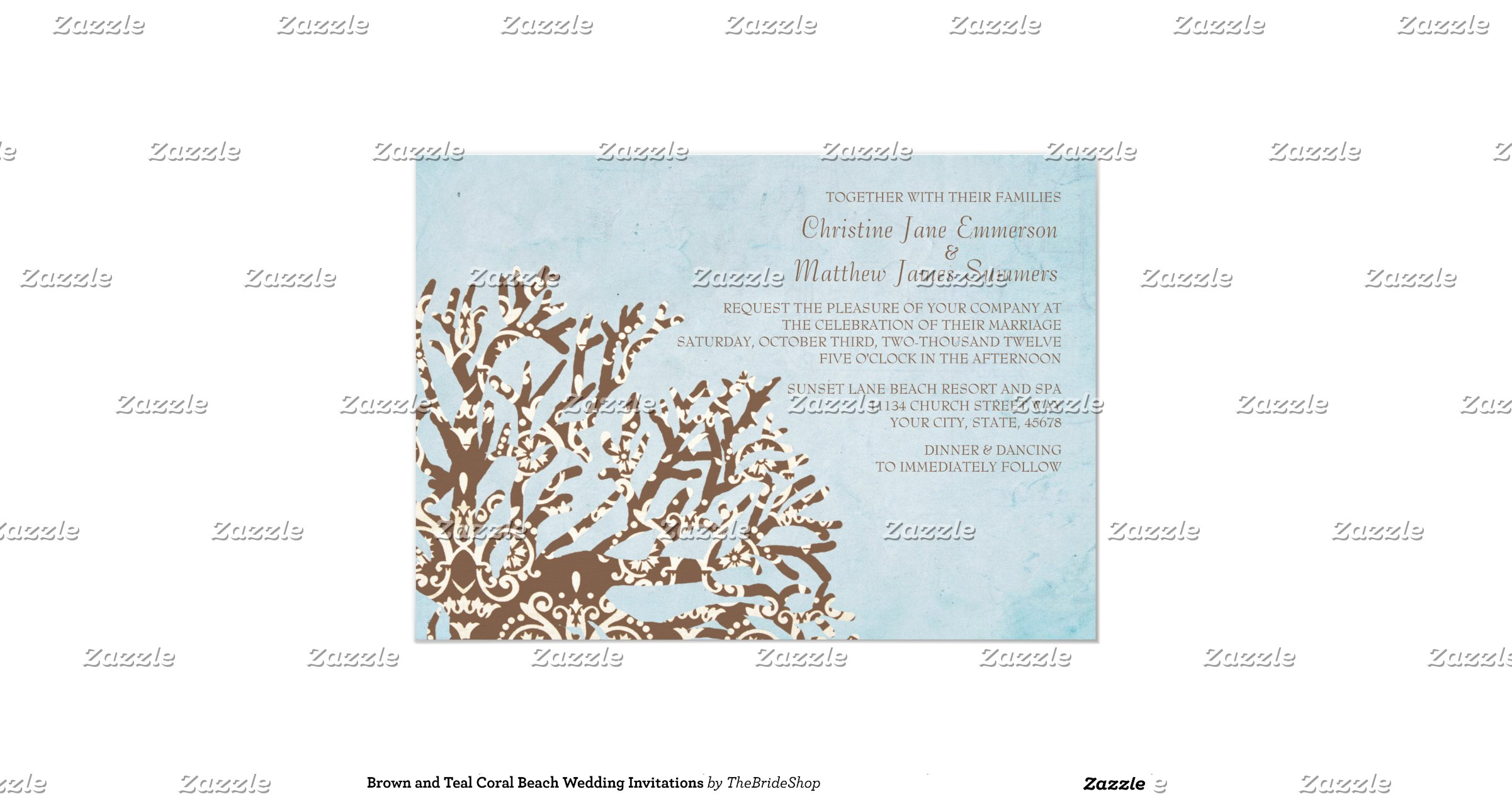 """Coral And Teal Wedding Invitations: Brown And Teal Coral Beach Wedding Invitations 5"""" X 7"""