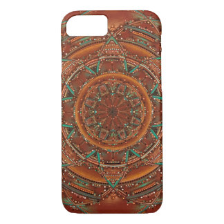 Brown and teal fractal mandala southwest iPhone 8/7 case