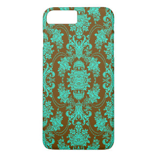 Brown And Teal Green ornate Floral Damasks iPhone 7 Plus Case