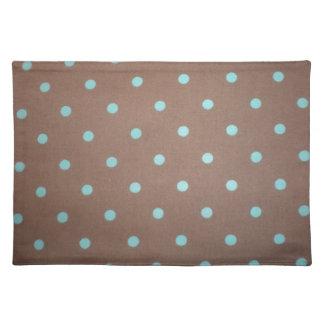 brown and teal polka dot place mats