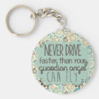 Brown and Teal Retro Guardian Angel Keychain