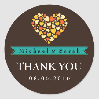 Brown and Teal Wedding Thank You Sticker with Love