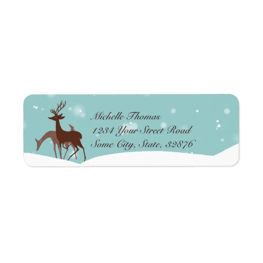 Brown and Teal Winter Deer in Snow Return Address Label