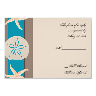 Brown and Turquoise Band Starfish Response Card 9 Cm X 13 Cm Invitation Card
