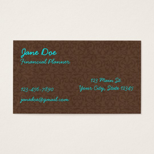 Brown and Turquoise Pattern Business Cards