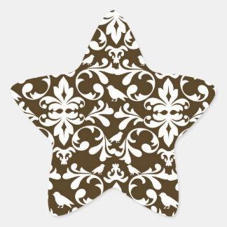 brown and white bird damask pattern star sticker