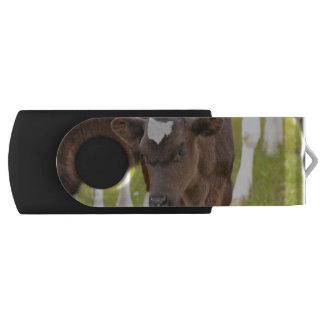 Brown and White Calf Swivel USB 2.0 Flash Drive