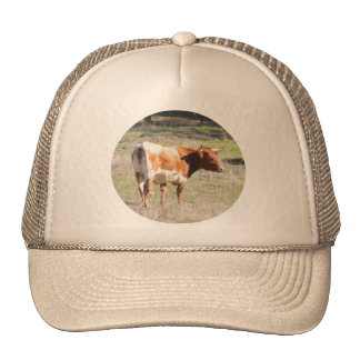 Brown and White Cow on Apparel Trucker Hats