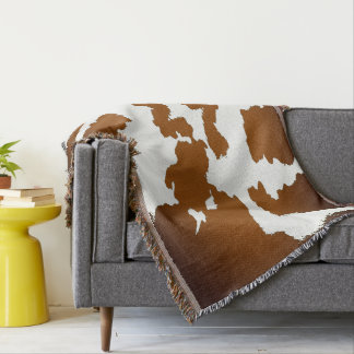 Brown and white Cow Print Pattern Throw Blanket