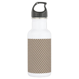 Brown and White Diagonal Stripes 532 Ml Water Bottle