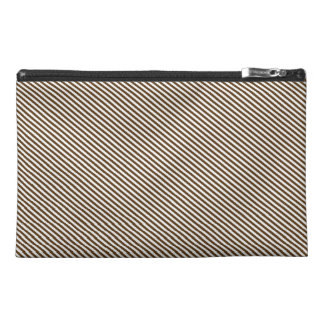 Brown and White Diagonal Stripes Travel Accessories Bags