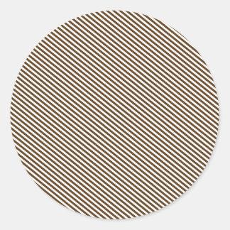Brown and White Diagonal Stripes Round Sticker