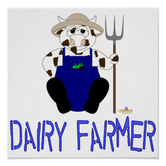 Brown And White Farmer Cow Blue Dairy Farmer Poster