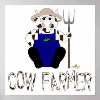 Brown And White Farmer Cow Brown White Cow Farmer Print