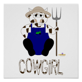 Brown And White Farmer Cow Brown White Cowgirl Posters